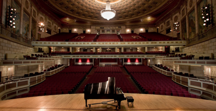 Piano on stage at Eastman Theatre